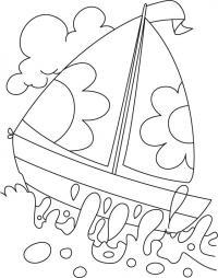 Лодочка с парусами в цветочек, море, волны Раскраски для мальчиков