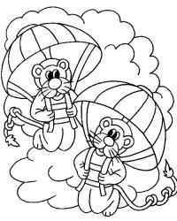 Львы парашютисты Раскраски для мальчиков бесплатно