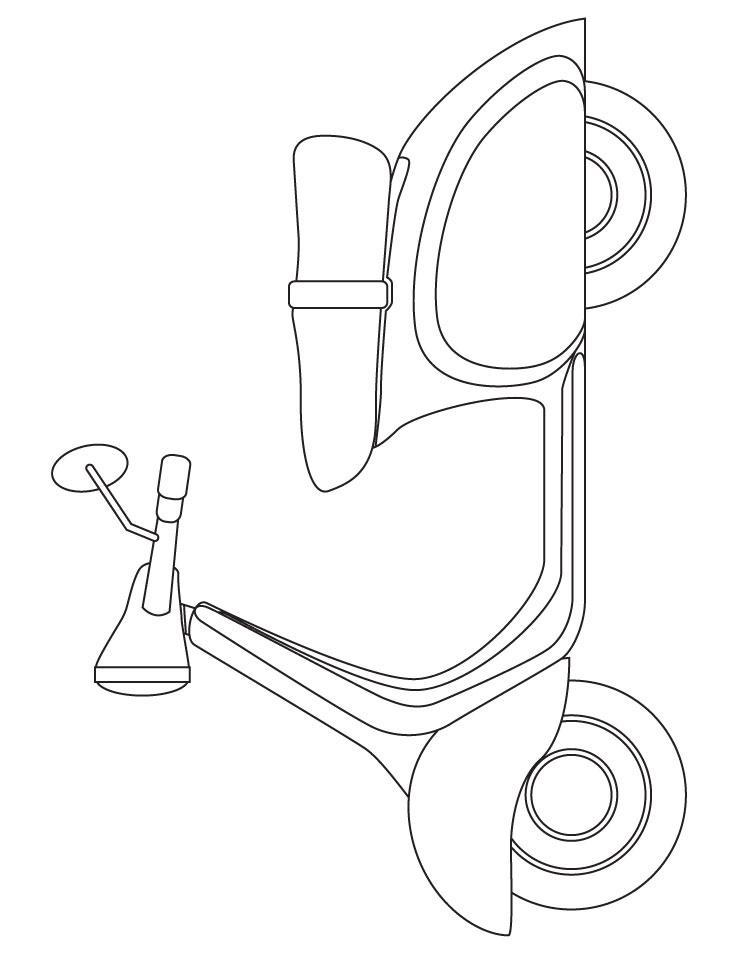 Мопед, скутер Распечатать раскраски для мальчиков