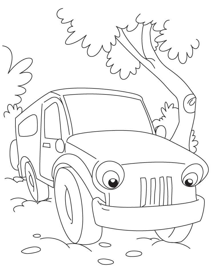Фургон в лесу, машина, деревья Скачать раскраски для мальчиков