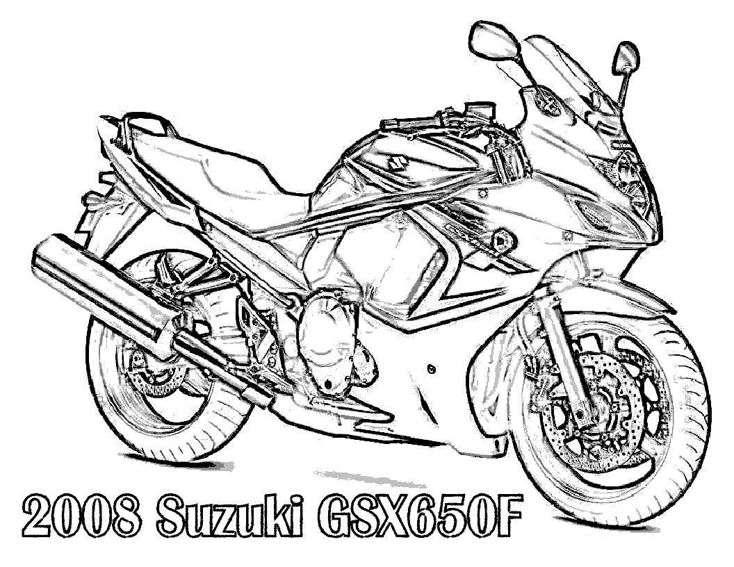 Мотоцикл сузуки, байк Распечатать раскраски для мальчиков