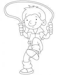 Мальчик прыгает на скакалке Раскраски для мальчиков бесплатно