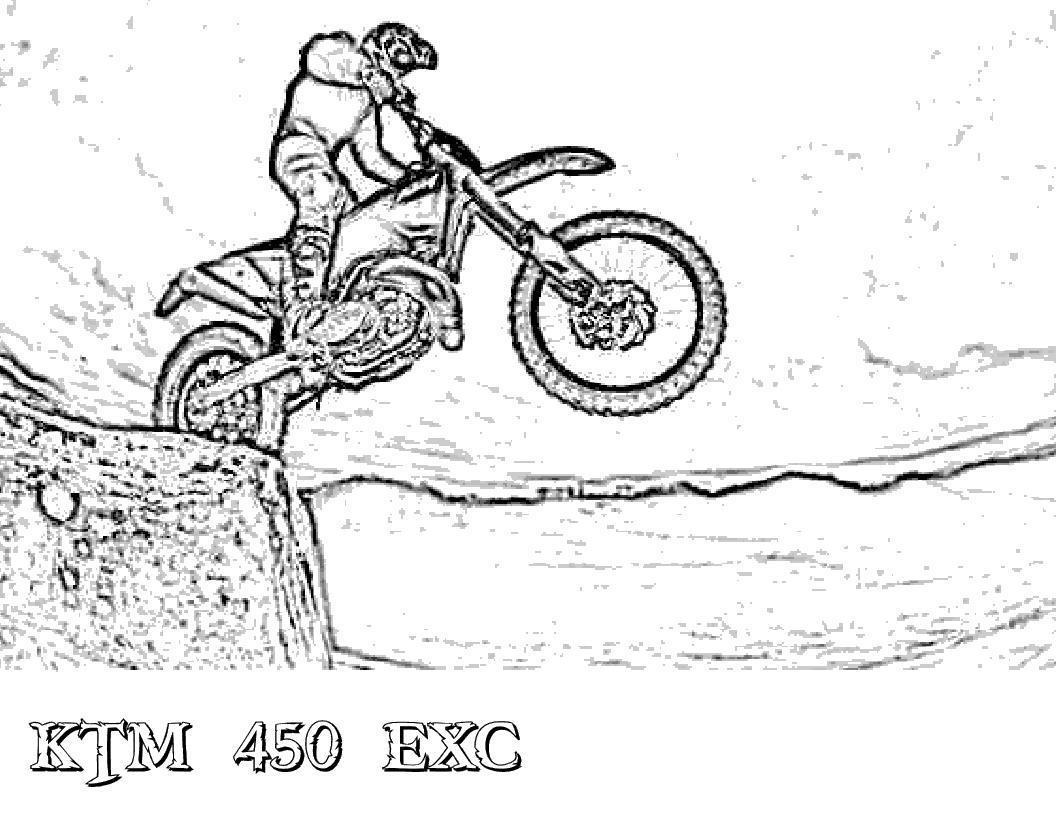 Преодолевание препятствий на мотоцикле, прыжки на мотоцикле, гонки, байкер, мотоспорт Распечатать раскраски для мальчиков