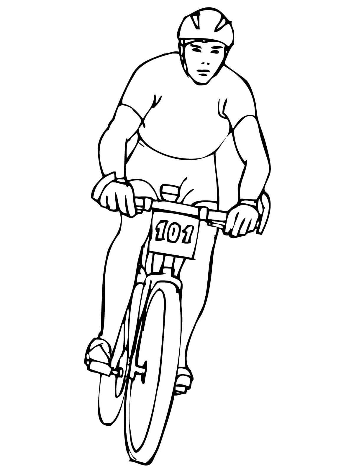 Велосипедист вид спереди, гонщик Раскраски для детей мальчиков