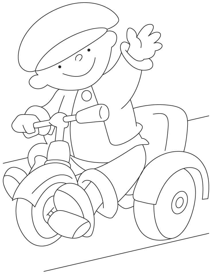 Маленький ребенок на велосипеде Раскраски для детей мальчиков