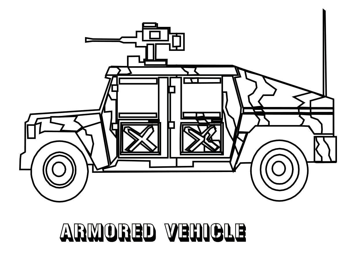 Раскраски военный джип