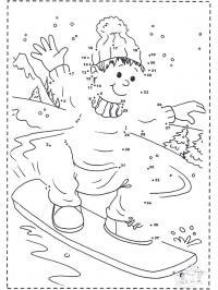 Мальчик на сноуборде, горы, лес, елки, снег Раскрашивать раскраски для мальчиков