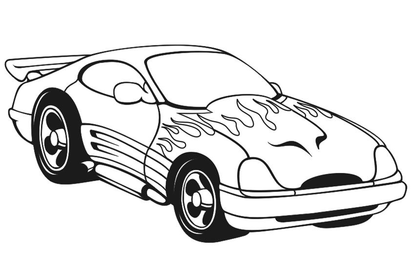 Машина разрисованная под огонь Скачать раскраски для мальчиков