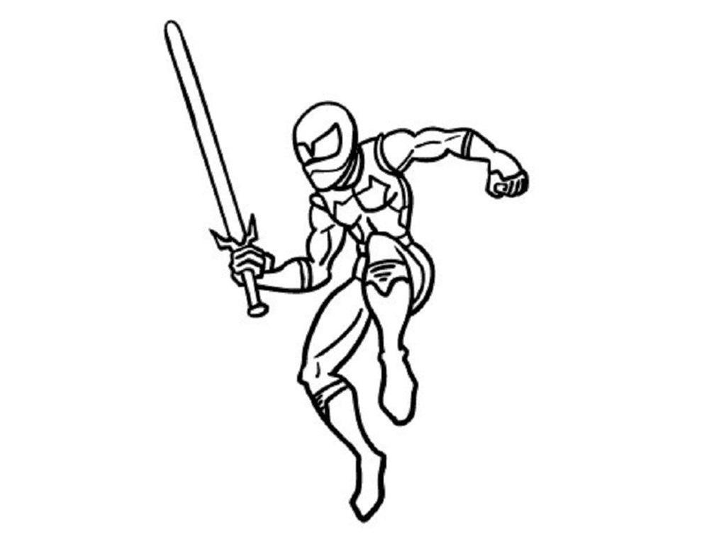 Ниндзя в прыжке с мечом Раскраски для мальчиков