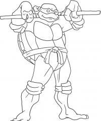 Черепашка ниндзя с деревянным шестом на плечах Раскраски для детей мальчиков