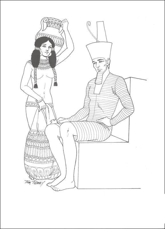 Древний мир, возле египетского фараона, девушка Раскраски для мальчиков бесплатно