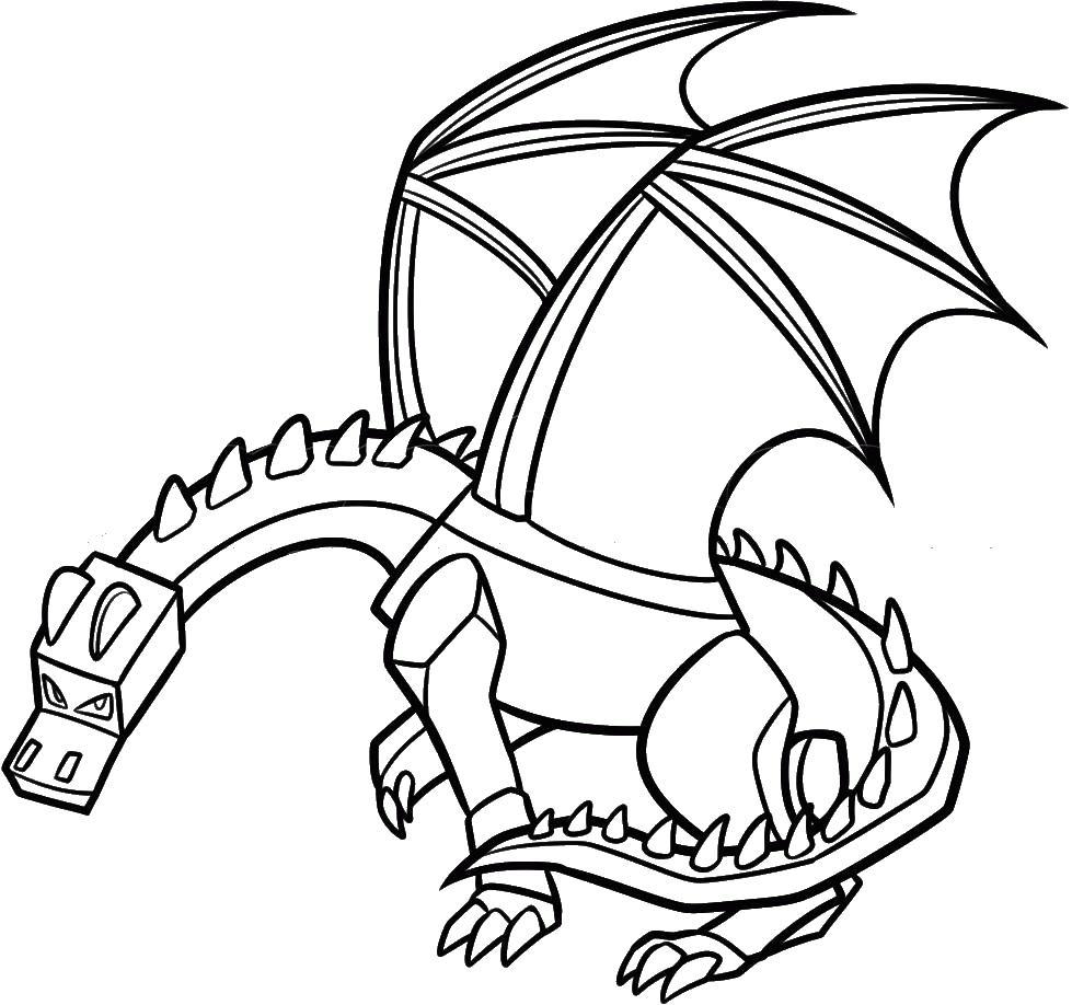 Раскраска эндер дракона распечатать