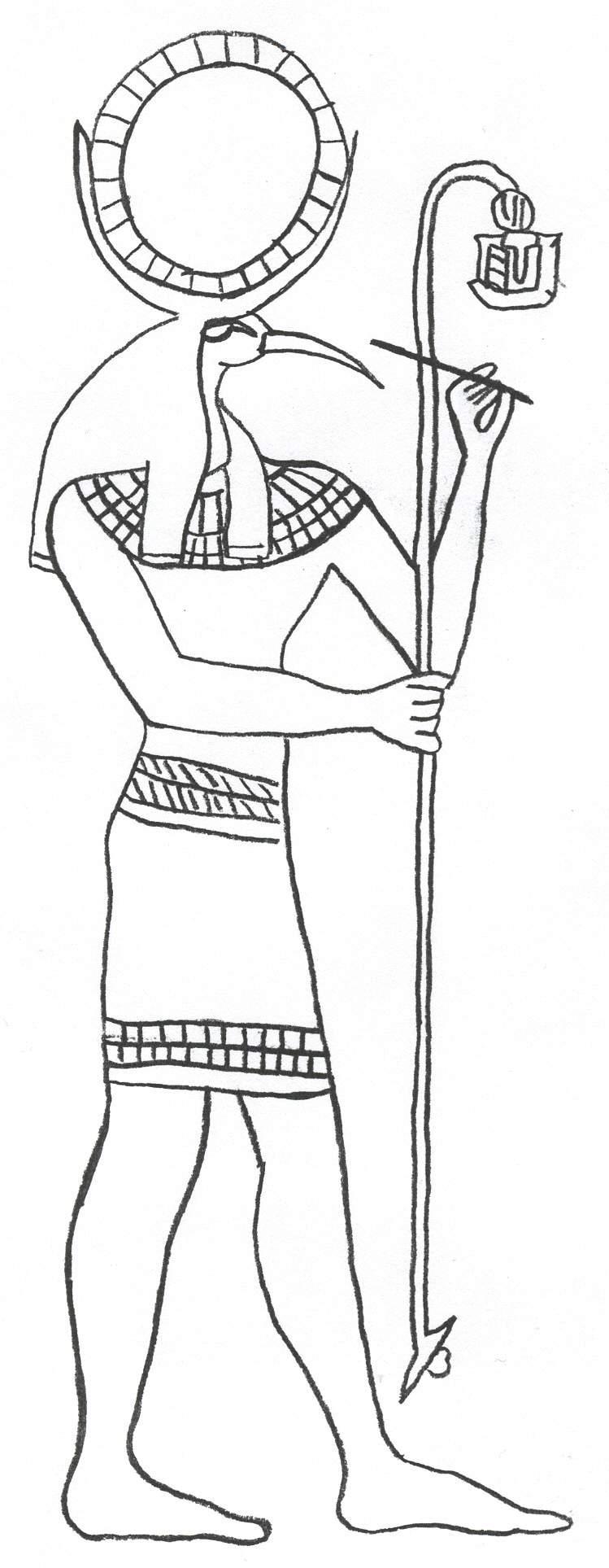Древний мир, бог египта, человек с головой птицы и шаром Раскраски для мальчиков бесплатно