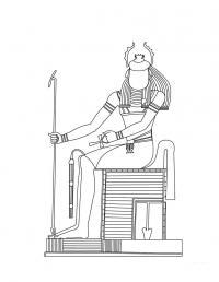 Древний мир, бог египта, человек с головой скоробея Раскраски для мальчиков бесплатно