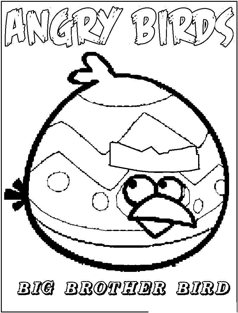 Angry birds злые птички, большой брат птичка Раскраски для детей мальчиков