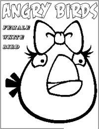 Angry birds злые птички, женщина белая птичка Раскраски для детей мальчиков