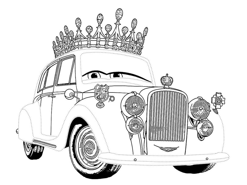Тачки, машина в короне, королевская машина, машина король Раскрашивать раскраски для мальчиков