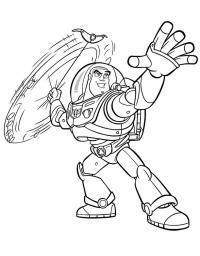 Космонавт баз, вращение оружием Скачать раскраски для мальчиков