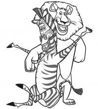Зебра и лев из мультфильма мадагаскар Раскраски для мальчиков бесплатно