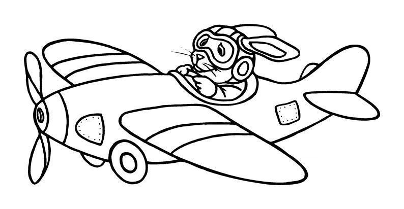 Заяц за штурвалом самолета Раскраски для мальчиков бесплатно