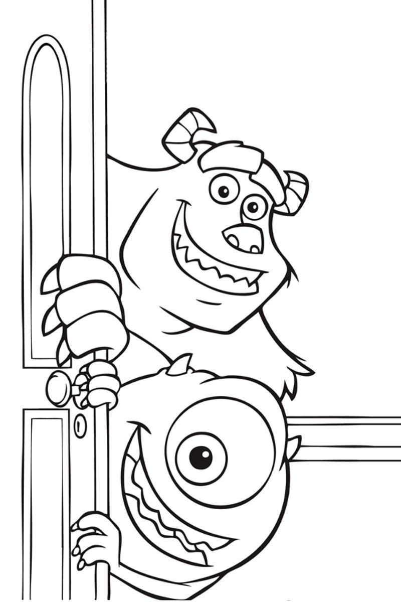 Корпорация монстров, два монстра выглядывают из-за двери Раскраски для мальчиков