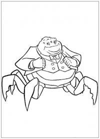 Корпорация монстров, директор корпорации, монстр паук в костюме Раскраски для мальчиков
