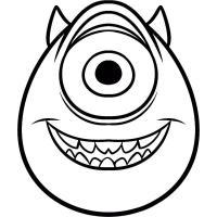 Корпорация монстров, голова одноглазого монстра с рожками Раскраски для мальчиков