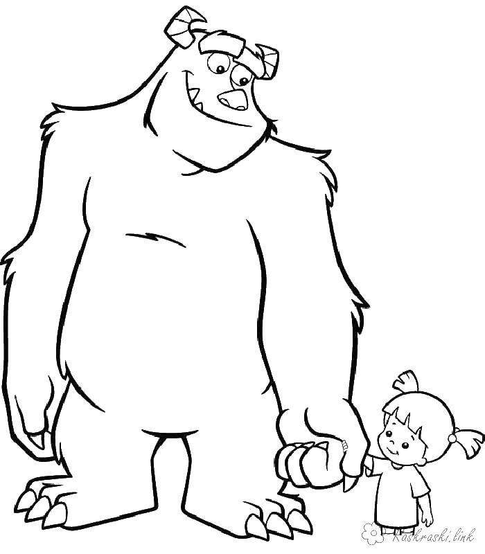 Корпорация монстров, монстр держит ребенка за руку Раскраски для мальчиков