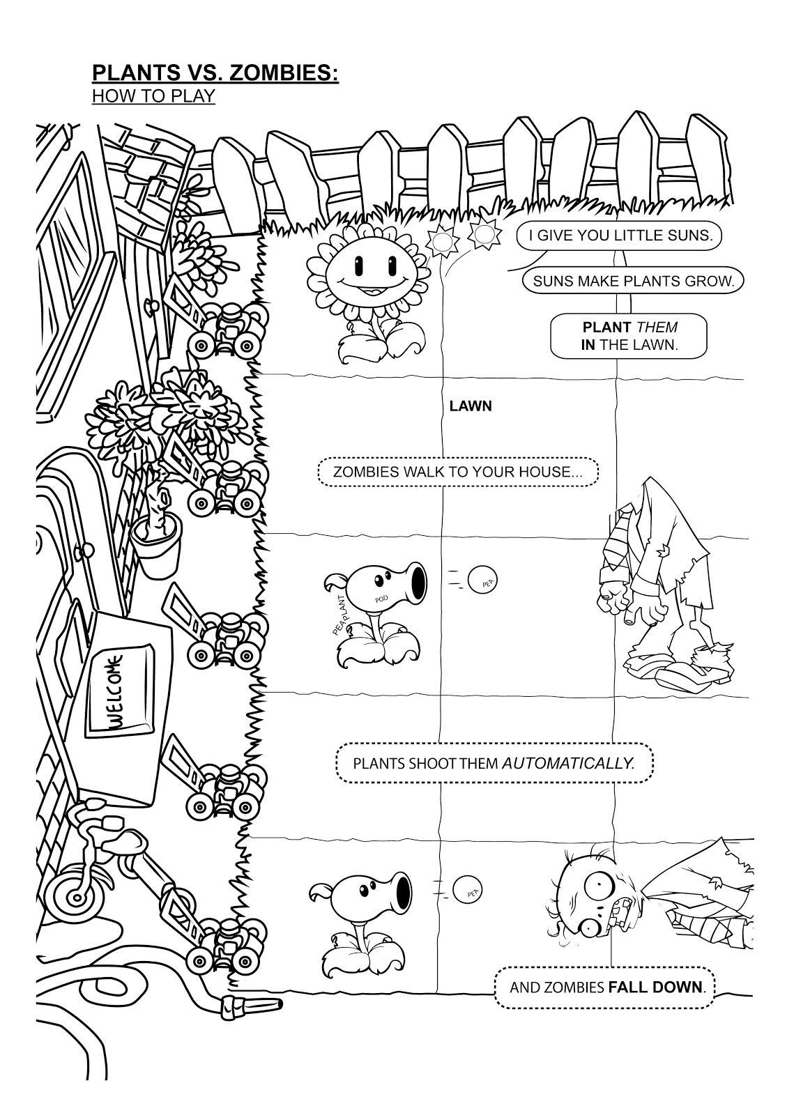 зомби против растений игра распечатать раскраски для мальчиков