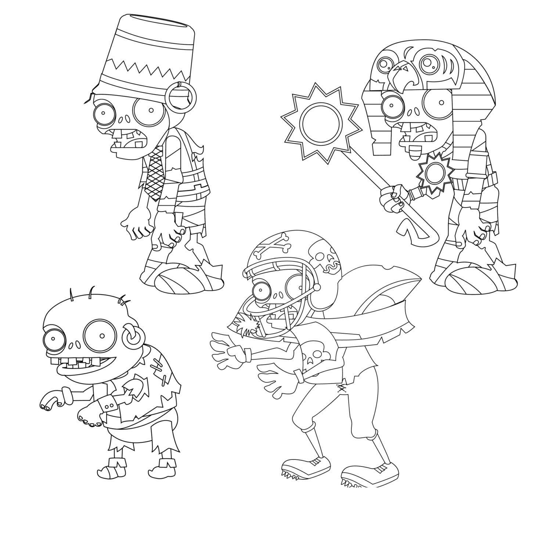 Зомби против растений, зомби с ведром на голове, зомби фараон, зомби с кольцом в ухе, зомби в шлеме Раскраски для мальчиков