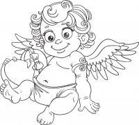 Малыш ангелочек с сердечком с ленточкой, крылья, день святого валентина Скачать раскраски для мальчиков