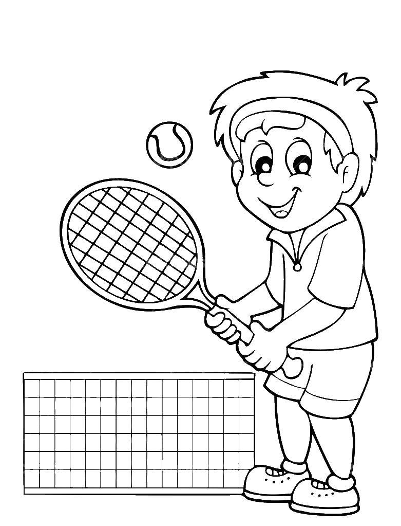 Мальчик играет в теннис, ракетка, сетка Раскраски для мальчиков