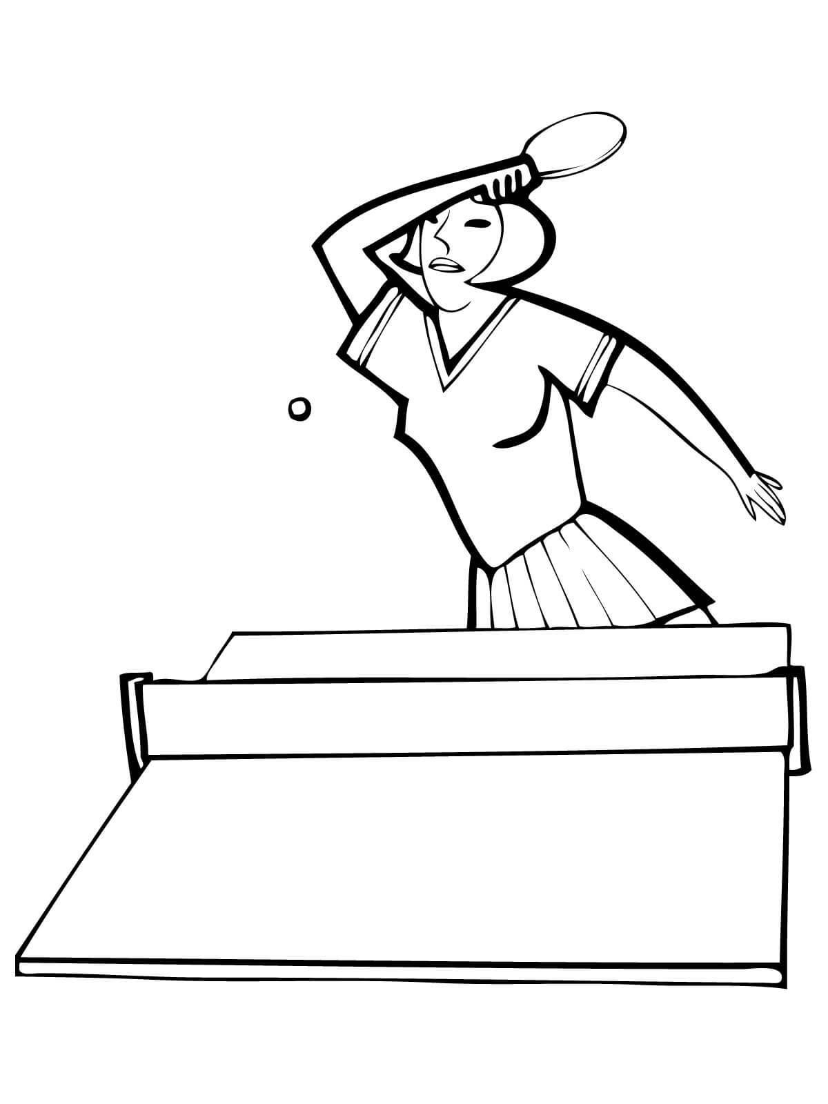 Девушка играет в настольный теннис, стол с сеткой, мяч и ракетка Раскраски для мальчиков