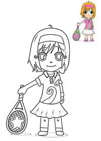 Девочка с теннисной ракеткой, ракетка со звездой Раскраски для мальчиков
