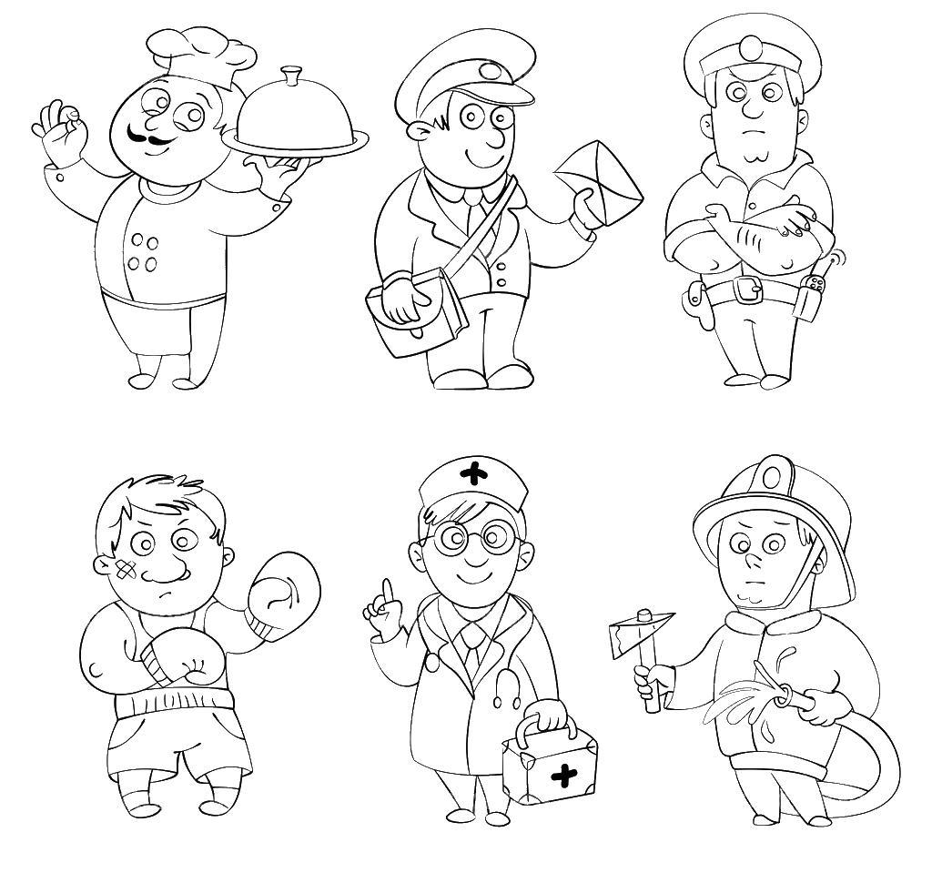 Повар, почтальон, полицейский, боксер, врач, пожарный Раскраски для детей мальчиков