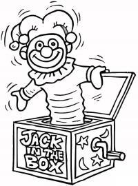 Коробка с сюрпризом, коробка с выскакивающим клоуном, механическая игрушка Скачать раскраски для мальчиков