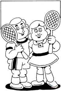 Мальчик и девочка с теннисными ракетками Раскраски для мальчиков