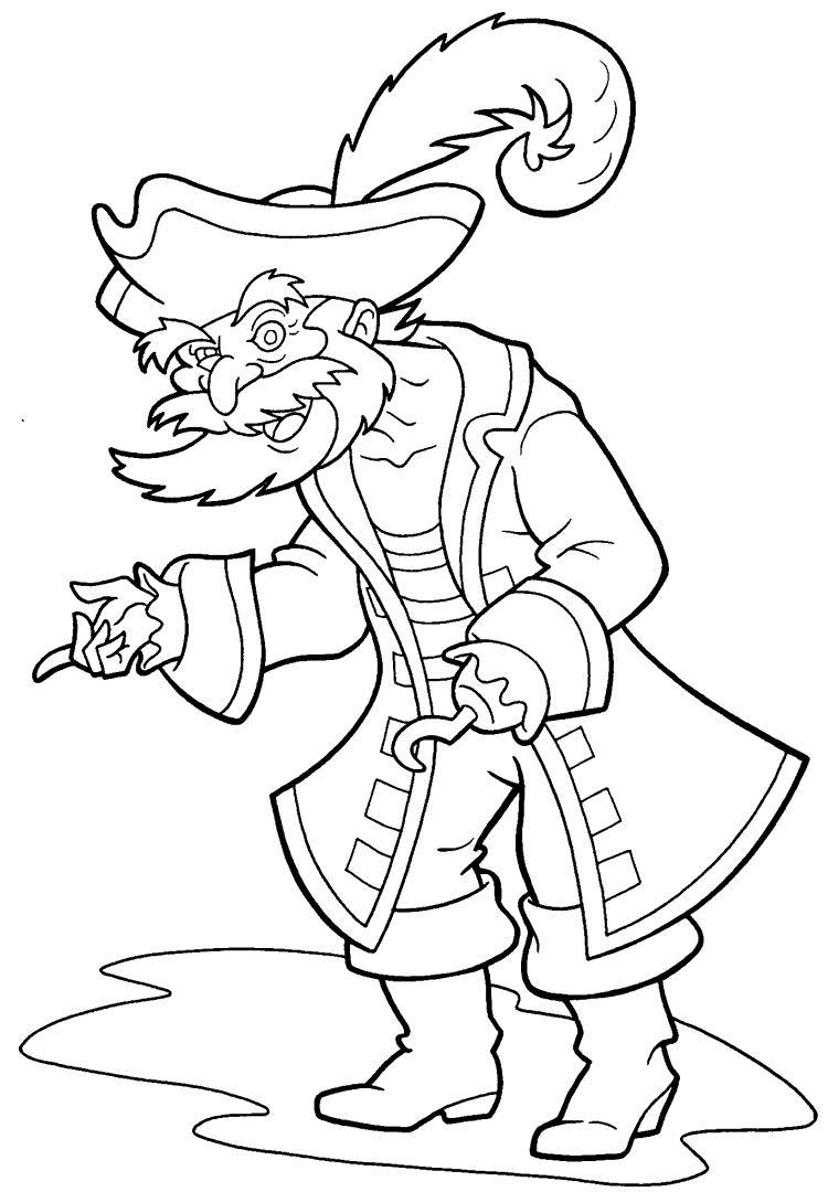Пират с бородой и крюком вместо руки, шляпа с пером, пират подмигивает глазом Раскраски для детей мальчиков