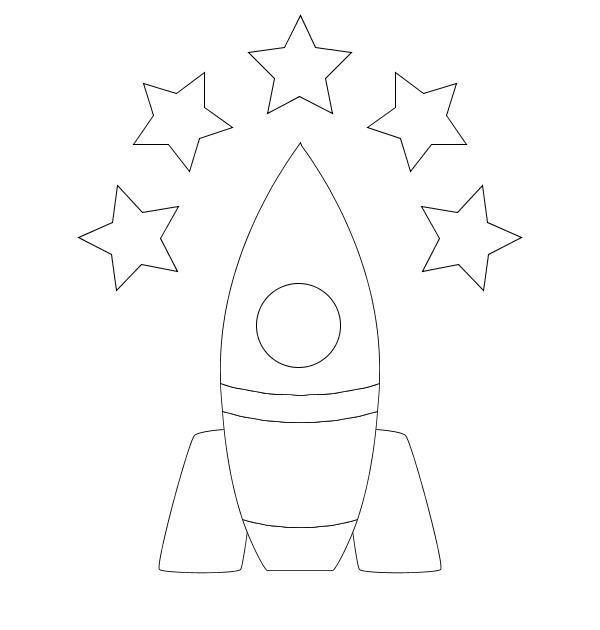 Ракета и звезды округ нее Раскраски для мальчиков