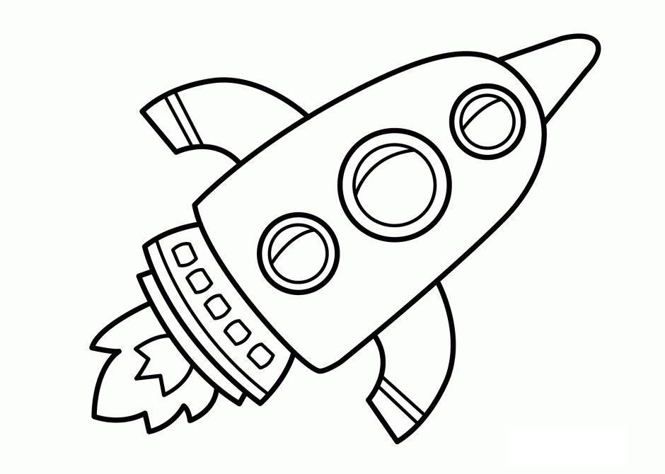 Ракета с огнем, ракета с тремя круглыми окошками Раскраски для мальчиков