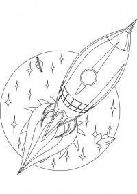 Ракета в космосе, звезды и планеты Раскраски для мальчиков