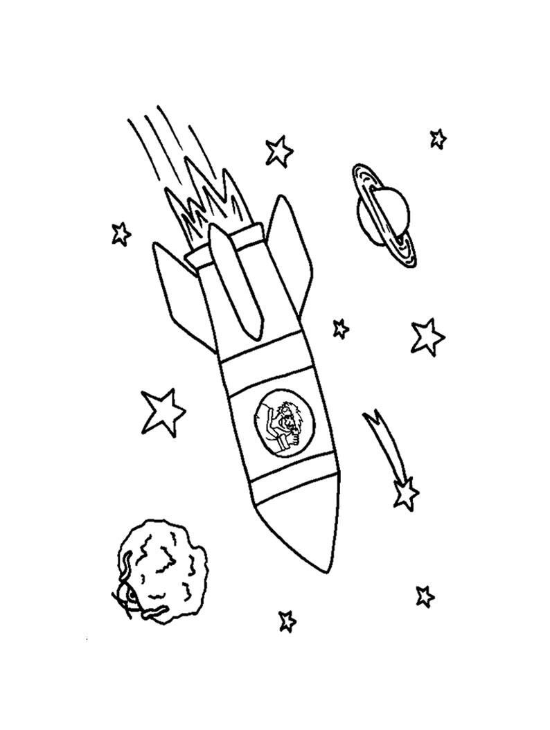 Мальчик летит в ракете, звезды и планеты Раскраски для мальчиков