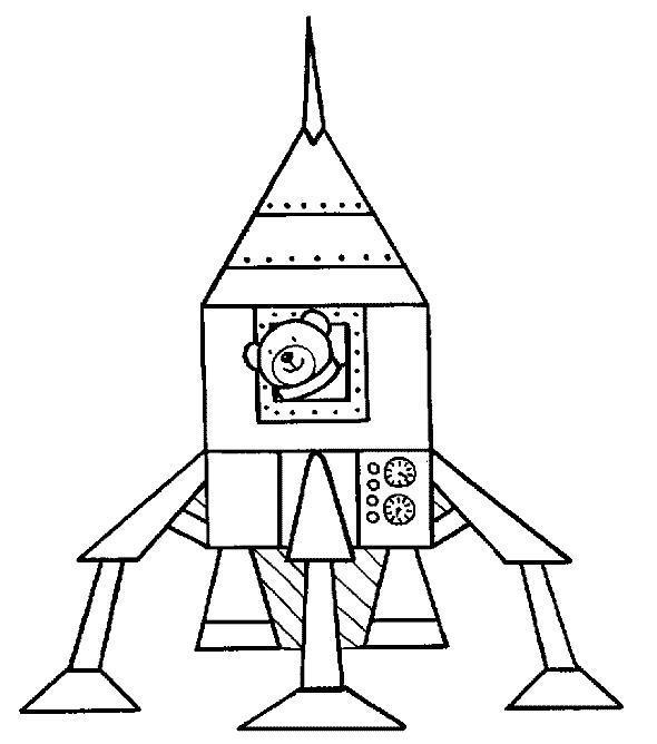 Медвежонок в космической ракете Раскраски для мальчиков