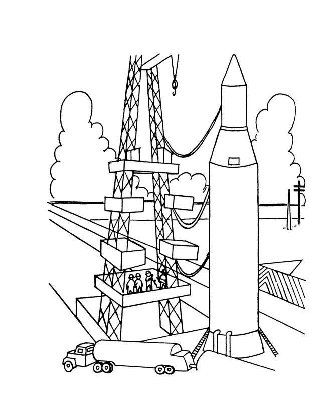 Строительство космической ракеты, люди Раскраски для мальчиков