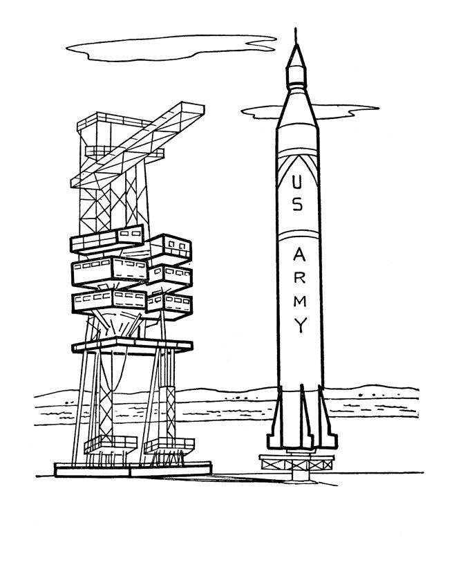 Ракета готовится к взлету в космос, космический аэродром Раскраски для мальчиков