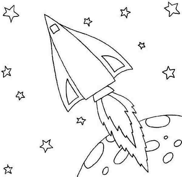 Ракета с огненным хвостом летит в космосе, планета Раскраски для мальчиков