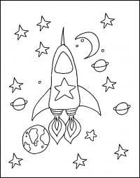 Ракета в космосе с двумя огненными хвостами, звезды Раскраски для мальчиков