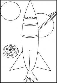 Ракета и планеты вокруг нее Раскраски для мальчиков