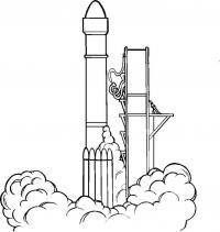 Ракета взлетает, космический аэродром Раскраски для мальчиков