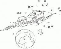 Ракета летит в космосе, планета и звезды Раскраски для мальчиков